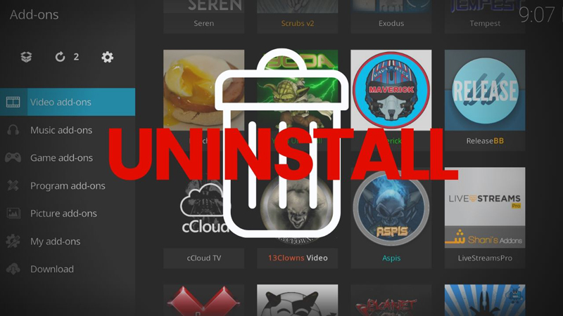 Uninstall Kodi Add-ons