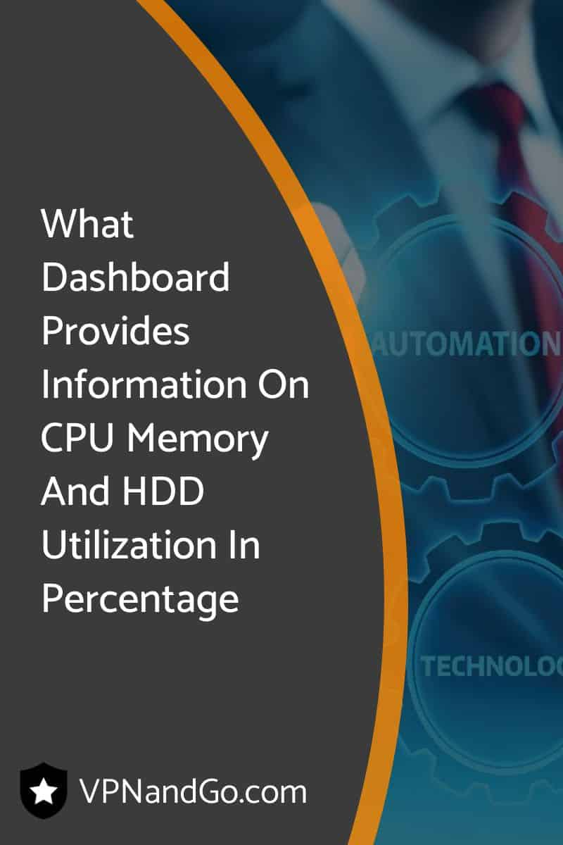 What Dashboard Provides Information On CPU Memory And HDD Utilization In Percentage