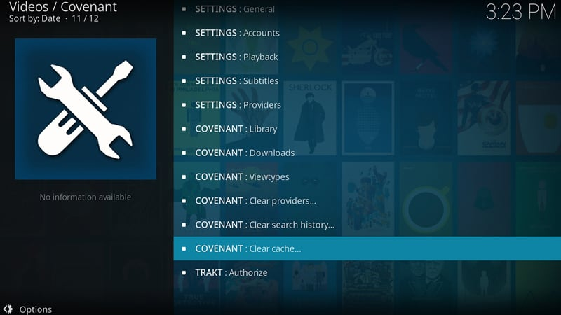 Clear Kodi Cache with Covenant Addon